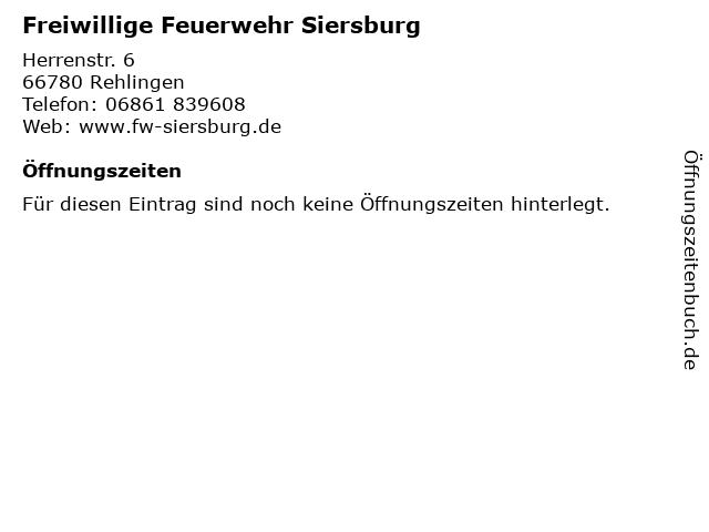 Freiwillige Feuerwehr Siersburg in Rehlingen: Adresse und Öffnungszeiten