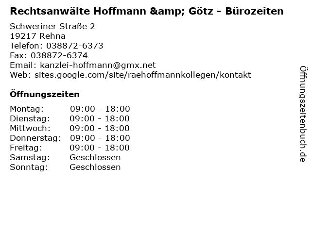 Rechtsanwälte Hoffmann & Götz - Bürozeiten in Rehna: Adresse und Öffnungszeiten