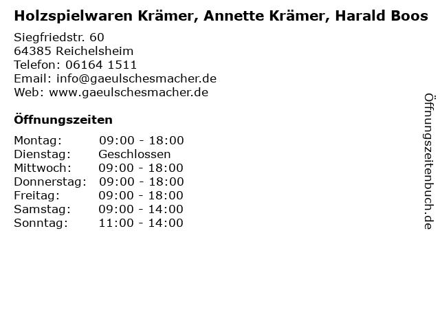 Holzspielwaren Krämer, Annette Krämer, Harald Boos in Reichelsheim: Adresse und Öffnungszeiten