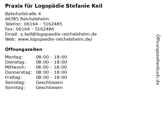 Praxis für Logopädie Stefanie Keil in Reichelsheim: Adresse und Öffnungszeiten