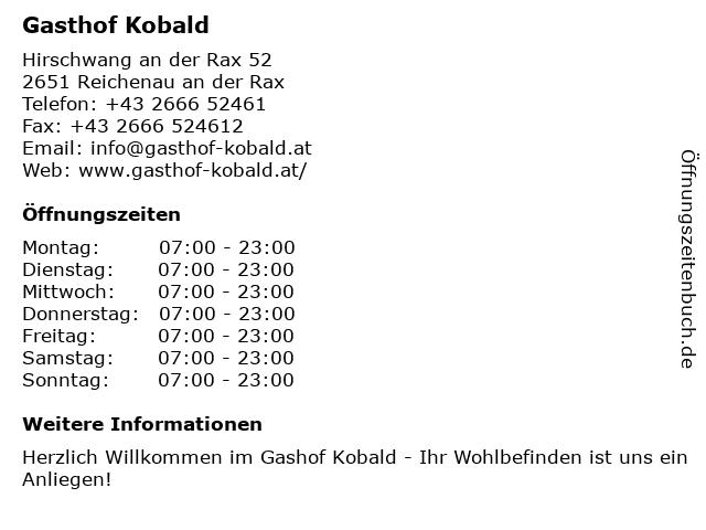 Gasthof Kobald in Reichenau an der Rax: Adresse und Öffnungszeiten