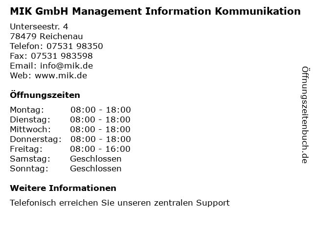 MIK GmbH Management Information Kommunikation in Reichenau: Adresse und Öffnungszeiten