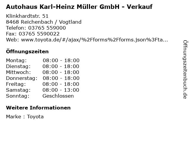 Autohaus Karl-Heinz Müller GmbH - Verkauf in Reichenbach / Vogtland: Adresse und Öffnungszeiten