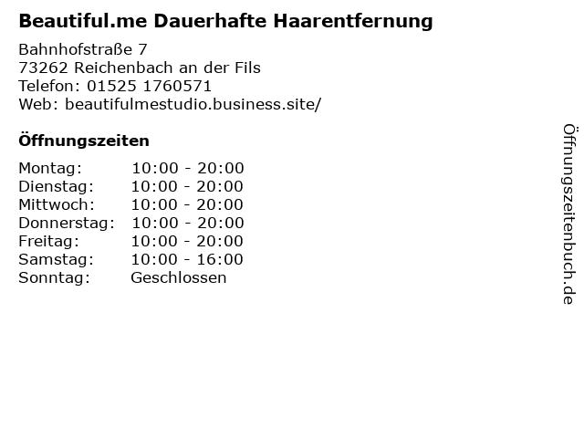 Beautiful.me Dauerhafte Haarentfernung in Reichenbach an der Fils: Adresse und Öffnungszeiten