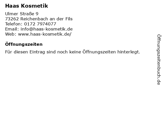 Haas Kosmetik in Reichenbach an der Fils: Adresse und Öffnungszeiten
