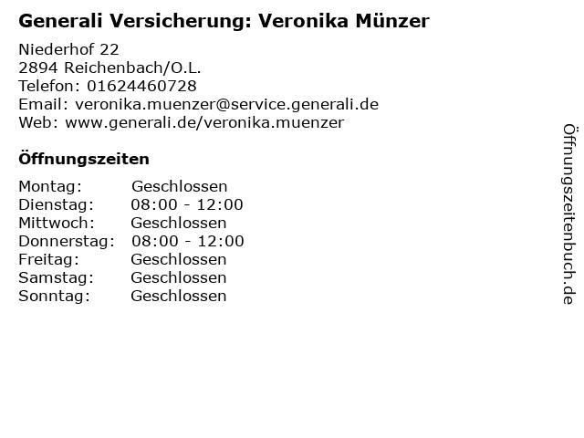 ᐅ Offnungszeiten Generali Versicherung Veronika Munzer