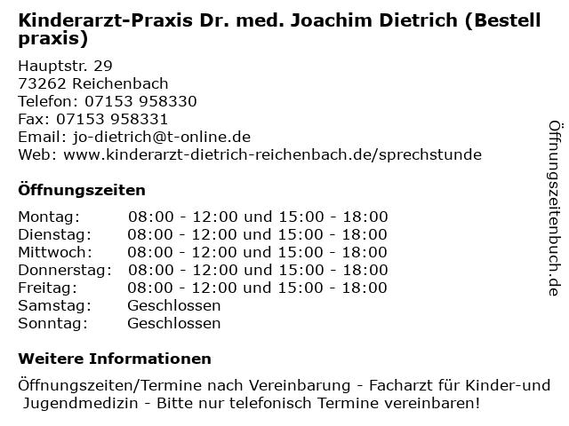 Kinderarzt-Praxis Dr. med. Joachim Dietrich (Bestellpraxis) in Reichenbach: Adresse und Öffnungszeiten