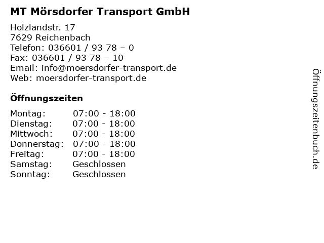 MT Mörsdorfer Transport GmbH in Reichenbach: Adresse und Öffnungszeiten