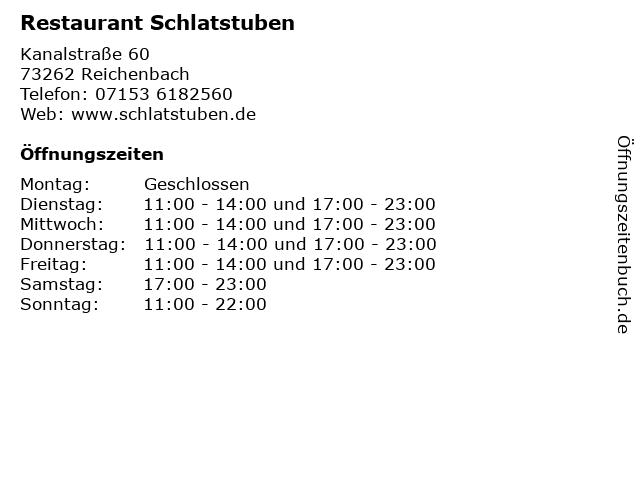 Restaurant Schlatstuben in Reichenbach: Adresse und Öffnungszeiten