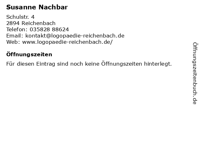 Praxis für Logopädie - Susanne Nachbar in Reichenbach/O.L.: Adresse und Öffnungszeiten