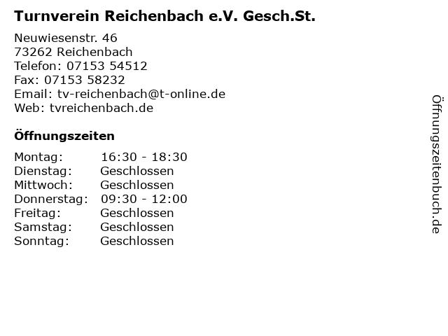 Turnverein Reichenbach e.V. Gesch.St. in Reichenbach: Adresse und Öffnungszeiten