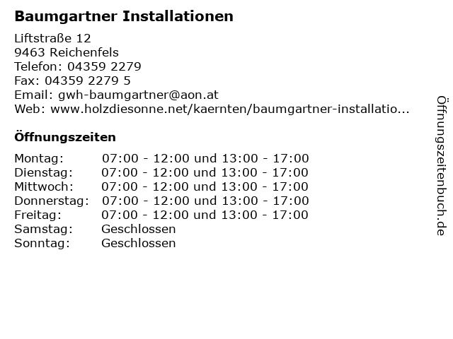 Baumgartner Installationen in Reichenfels: Adresse und Öffnungszeiten