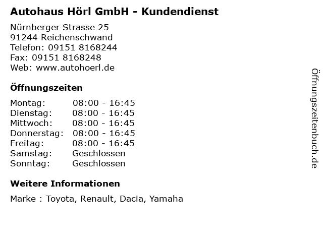 Autohaus Hörl GmbH - Kundendienst in Reichenschwand: Adresse und Öffnungszeiten