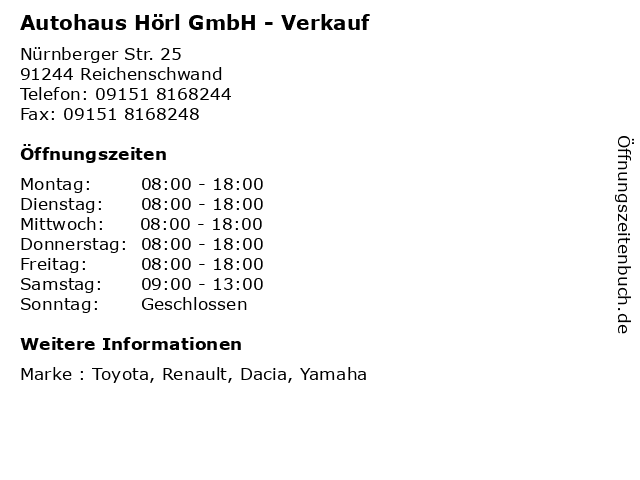 Autohaus Hörl GmbH - Verkauf in Reichenschwand: Adresse und Öffnungszeiten