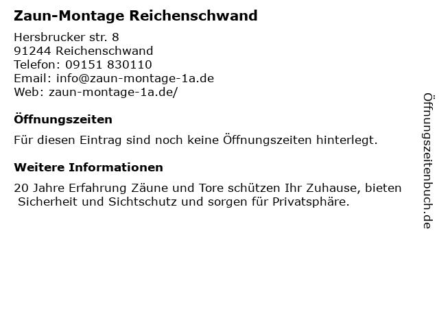 Zaun-Montage Reichenschwand in Reichenschwand: Adresse und Öffnungszeiten