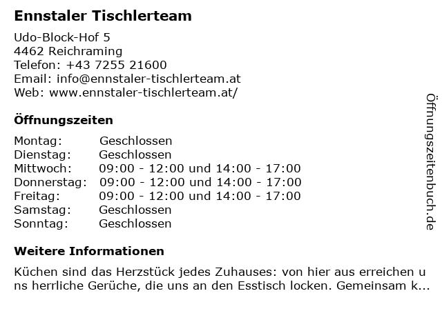 Ennstaler Tischlerteam in Reichraming: Adresse und Öffnungszeiten