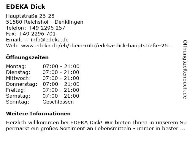 EDEKA Dick in Reichshof - Denklingen: Adresse und Öffnungszeiten