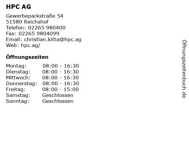 HPC AG - Das Ingenieurunternehmen in Reichshof: Adresse und Öffnungszeiten