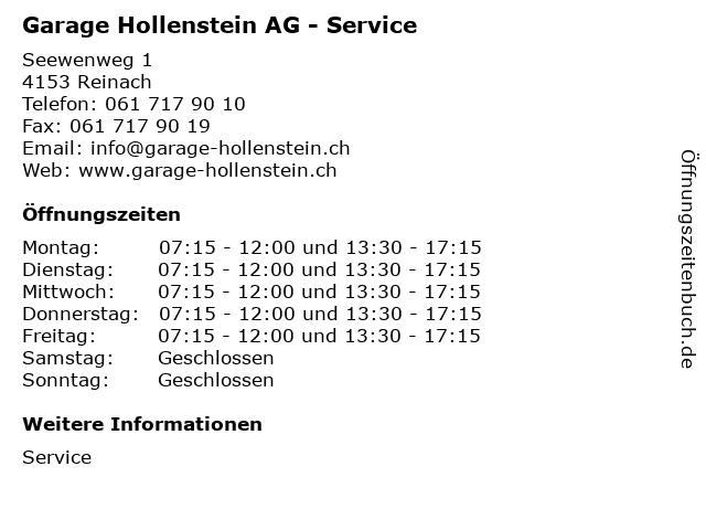 Garage Hollenstein AG - Service in Reinach: Adresse und Öffnungszeiten