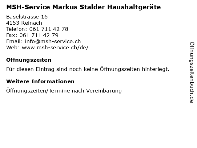 MSH-Service Markus Stalder Haushaltgeräte in Reinach: Adresse und Öffnungszeiten