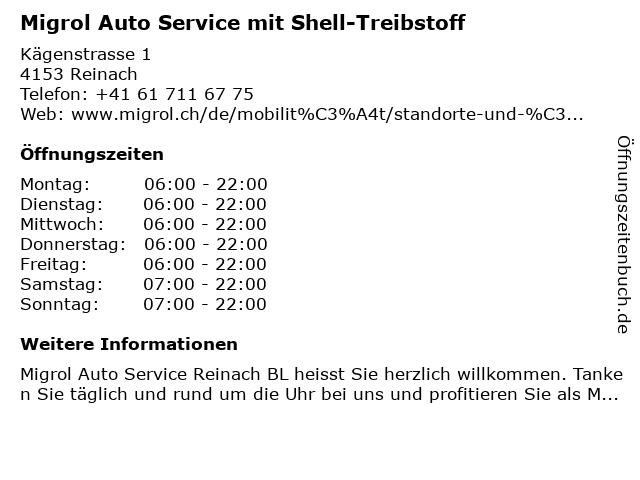 Migrol Auto Service in Reinach: Adresse und Öffnungszeiten
