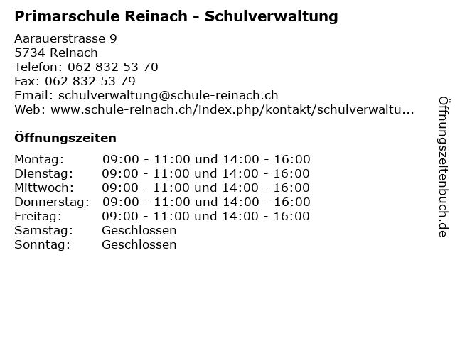 Primarschule Reinach - Schulverwaltung in Reinach: Adresse und Öffnungszeiten