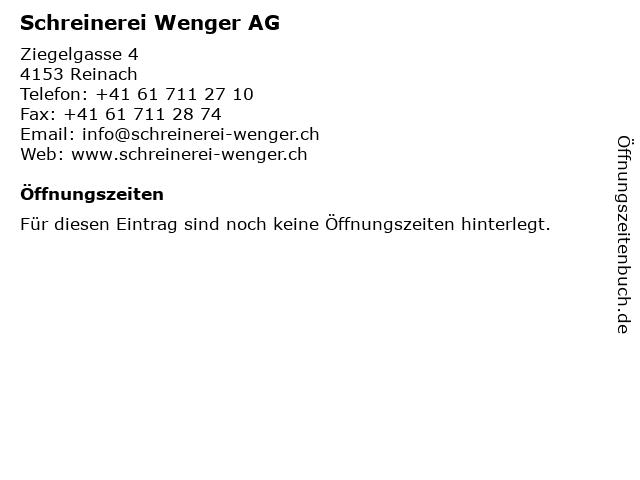 Schreinerei Wenger AG in Reinach: Adresse und Öffnungszeiten