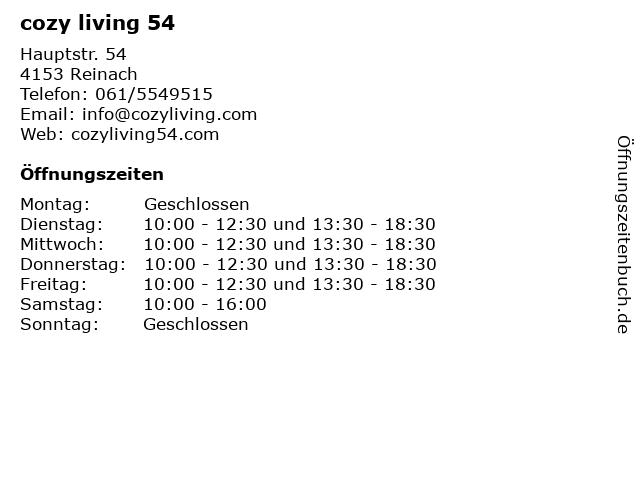 cozy living 54 in Reinach: Adresse und Öffnungszeiten
