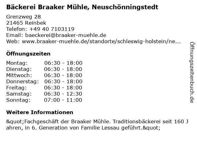 Braaker Mühle Brot- und Backwaren GmbH in Reinbek: Adresse und Öffnungszeiten