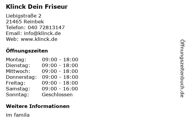 Friseur Klinck GmbH in Reinbek: Adresse und Öffnungszeiten