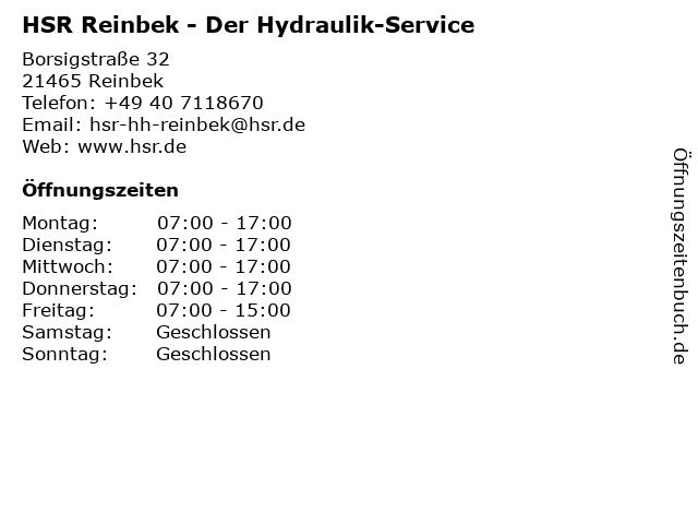 HSR Der Hydraulik-Service in Reinbek: Adresse und Öffnungszeiten