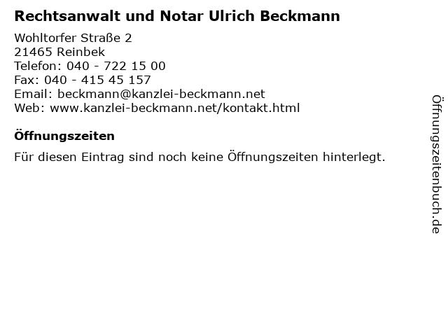 Rechtsanwalt und Notar Ulrich Beckmann in Reinbek: Adresse und Öffnungszeiten