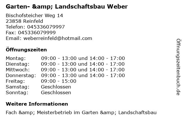 Garten- & Landschaftsbau Weber in Reinfeld: Adresse und Öffnungszeiten