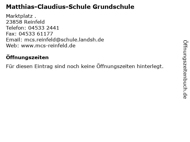ᐅ öffnungszeiten Matthias Claudius Schule Grundschule