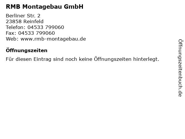 RMB Montagebau GmbH in Reinfeld: Adresse und Öffnungszeiten