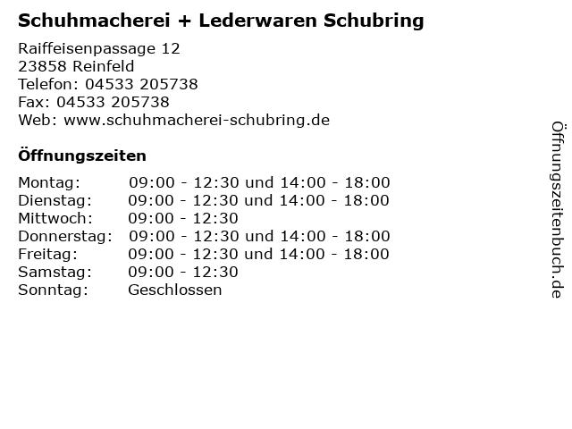 Schuhmacherei + Lederwaren Schubring in Reinfeld: Adresse und Öffnungszeiten