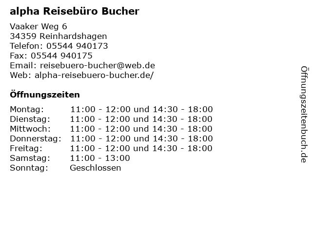 alpha Reisebüro Bucher in Reinhardshagen: Adresse und Öffnungszeiten