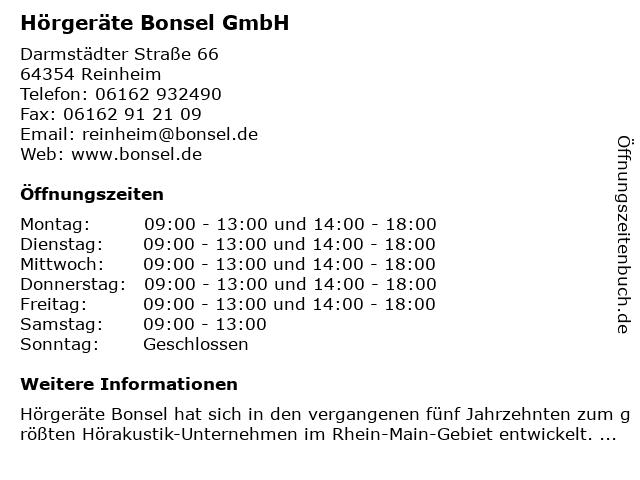 Hörgeräte Bonsel GmbH in Reinheim: Adresse und Öffnungszeiten