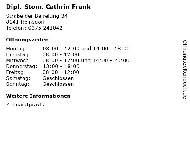 Dipl.-Stom. Cathrin Frank in Reinsdorf: Adresse und Öffnungszeiten