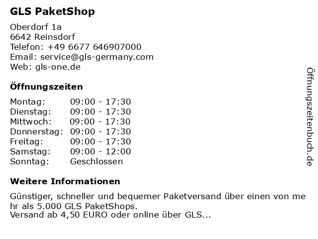 GLS PaketShop in Reinsdorf: Adresse und Öffnungszeiten