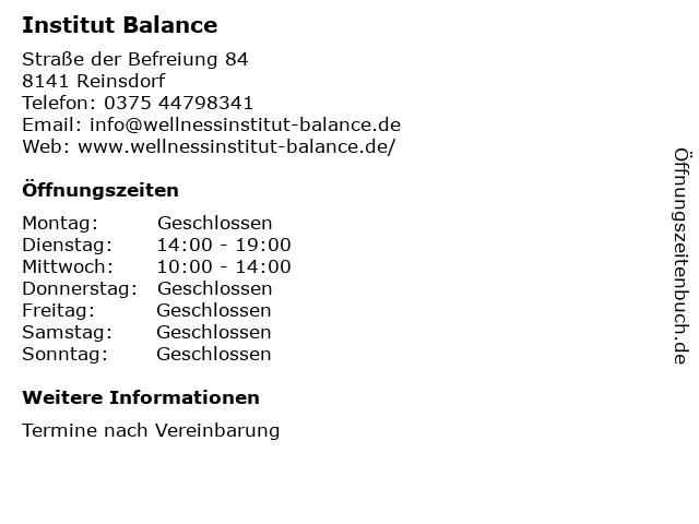 Institut Balance in Reinsdorf: Adresse und Öffnungszeiten