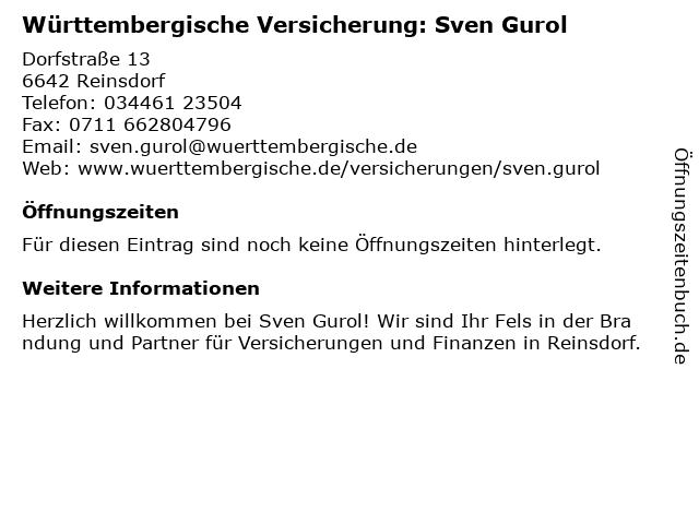 Württembergische Versicherung: Sven Gurol in Reinsdorf: Adresse und Öffnungszeiten