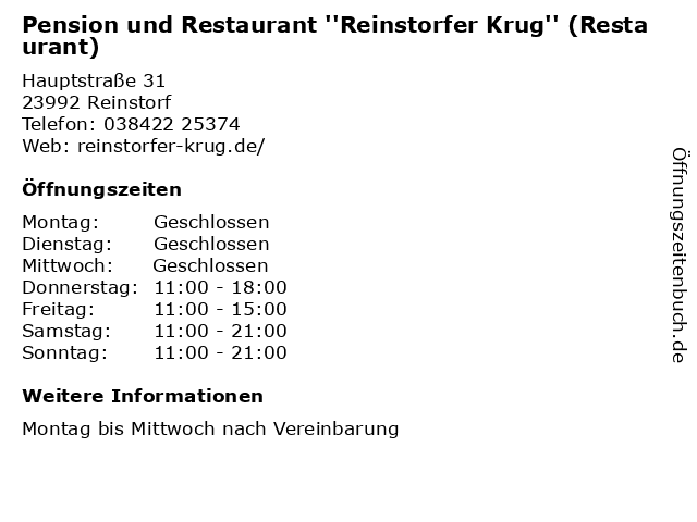 Pension und Restaurant ''Reinstorfer Krug'' (Restaurant) in Reinstorf: Adresse und Öffnungszeiten