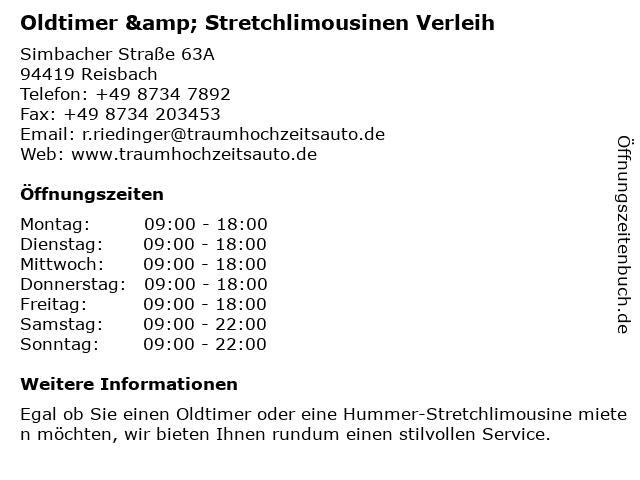 Oldtimer & Stretchlimousinen Verleih in Reisbach: Adresse und Öffnungszeiten
