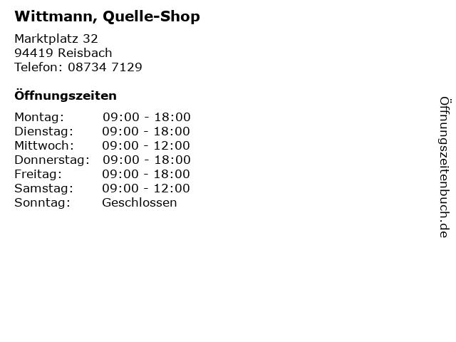 Wittmann, Quelle-Shop in Reisbach: Adresse und Öffnungszeiten