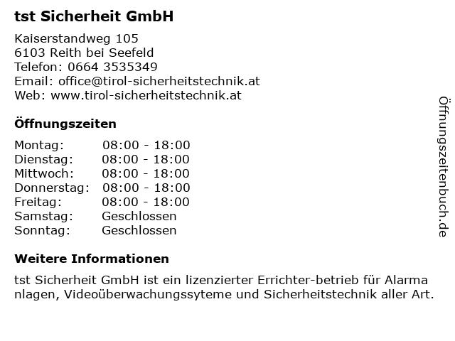 tst Sicherheit GmbH in Reith bei Seefeld: Adresse und Öffnungszeiten