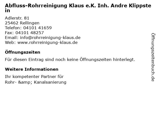 Abfluss- und Rohrreinigung Klaus e.K. in Rellingen: Adresse und Öffnungszeiten