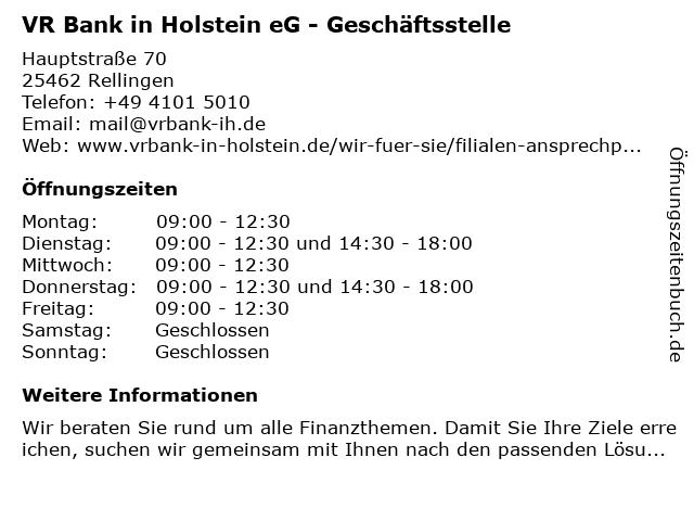 VR Bank in Holstein eG - Geschäftsstelle in Rellingen: Adresse und Öffnungszeiten
