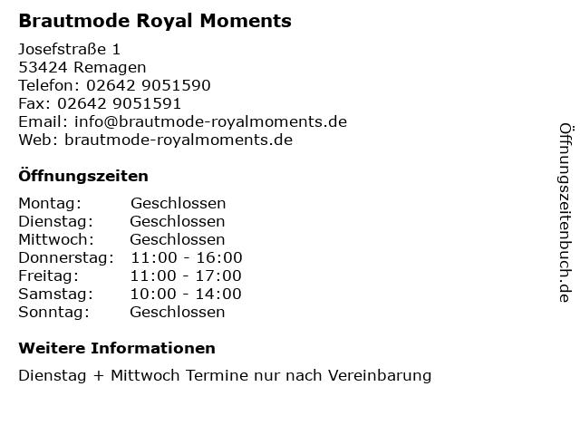 Brautmode Royal Moments in Remagen: Adresse und Öffnungszeiten