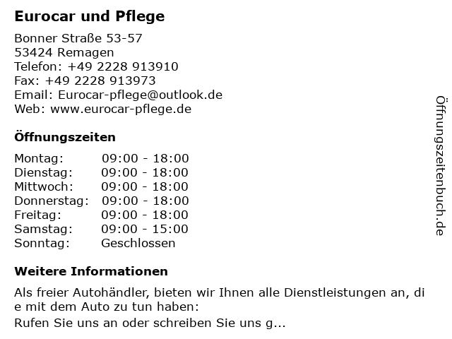 Eurocar und Pflege in Remagen: Adresse und Öffnungszeiten